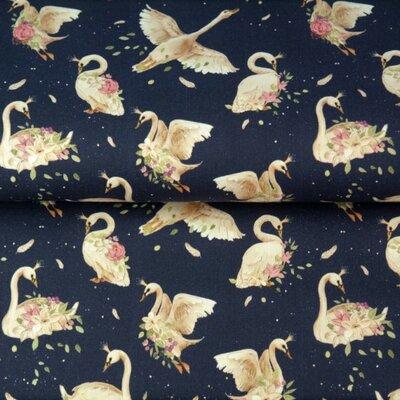 Printed Cotton poplin - Swans Navy