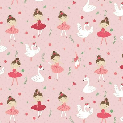 Printed Poplin - Ballerina Swan And Roses Rose