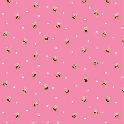 Printed Poplin - Bees & Flowers Pink