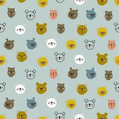 Printed Poplin - Cute Bears Blue