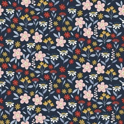 Printed Poplin - Flowers Navy