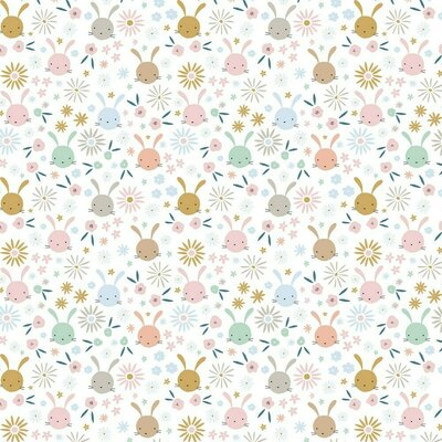 Printed Poplin - Sweet Bunny White
