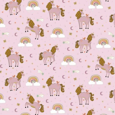 Printed Poplin - Unicorns and Rainbows Liliac