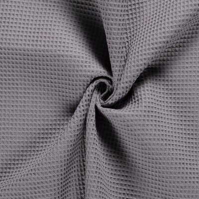 Waffle Pique Cotton Fabric Mid Grey