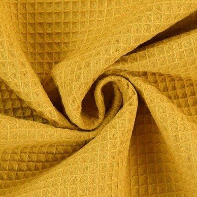 Waffle Pique Cotton Fabric Ochre