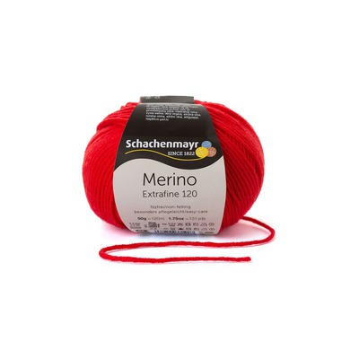 Wool Yarn - Merino Extrafine 120 Scarlet 00130