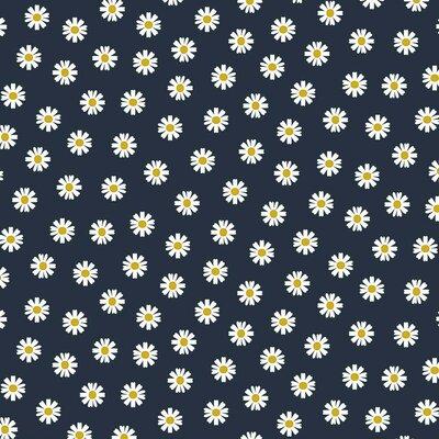 Bumbac imprimat - Daisy Flower Navy