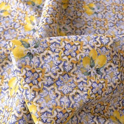 Bumbac imprimat digital - Azulejos Lemon