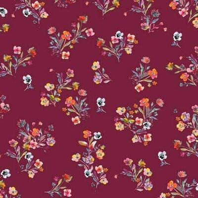 Bumbac imprimat digital - Flowers Cerise