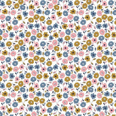 Bumbac imprimat - Flower Fields White