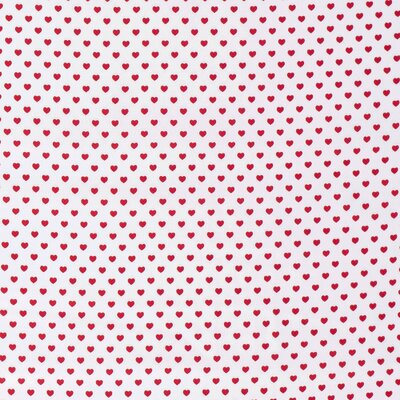 Bumbac Imprimat - Hearts White Red