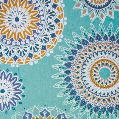 Bumbac imprimat - Mandala Aquamarine - 75 x 150 cm