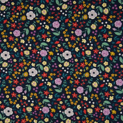 Jerse Bumbac imprimat - Flowers Navy