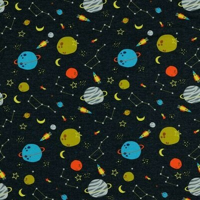 Jerse Bumbac imprimat - Fly me to space Indigo Melange