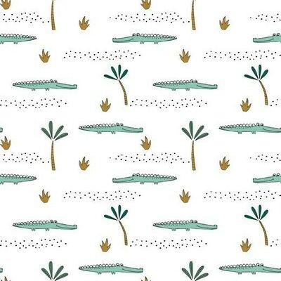 Jerse Bumbac organic - Crocodile White