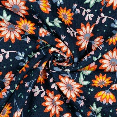 Jerse Bumbac organic - Glitter Flowers Navy
