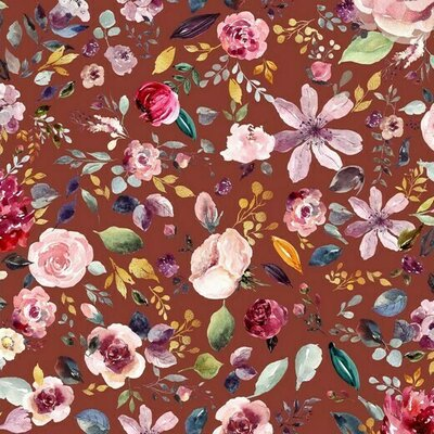 Jerse Bumbac organic - Painted Flowers henna