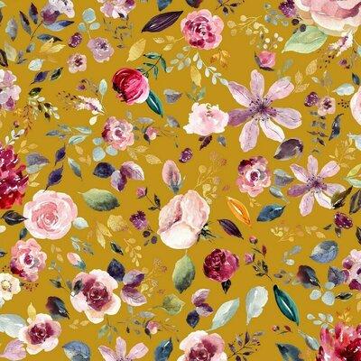 Jerse Bumbac organic - Painted Flowers Ochre
