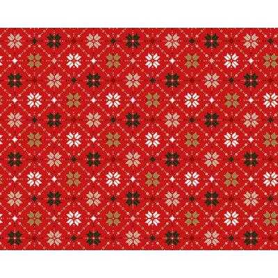 Material bumbac - Snowflake Metallic Fair Isle Red