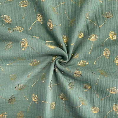 Muselina imprimata cu auriu - Dandelion Green