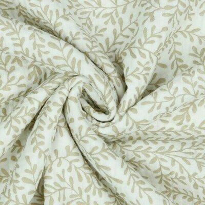 Muselina organica imprimata - Leaves White