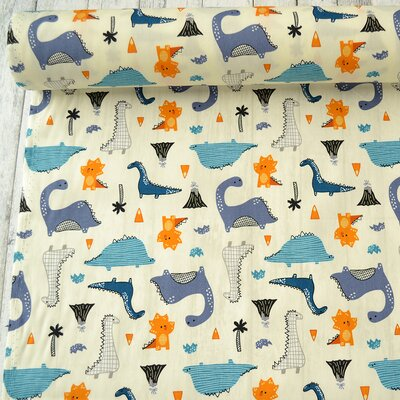 Poplin - Dinosaurs Ivory Blue