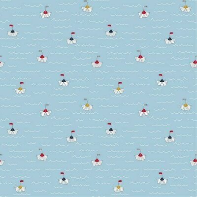 Poplin imprimat - At the Beach Boats Blue
