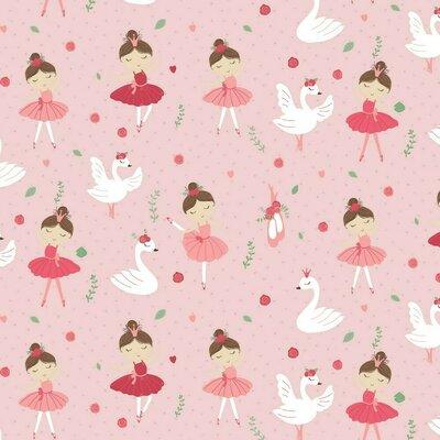 Poplin imprimat - Ballerina Swan And Roses Rose
