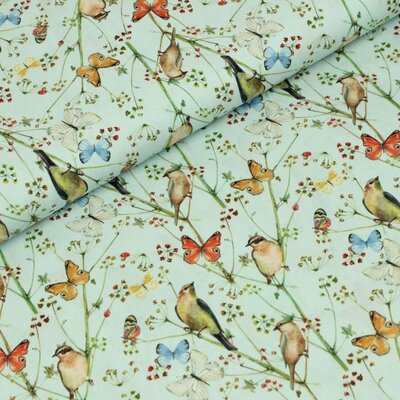 Poplin imprimat - Birds and Butterfly Blue