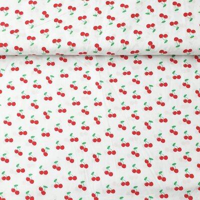 Poplin imprimat - Cherries White