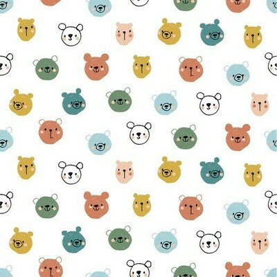 Poplin imprimat - Cute Bears White