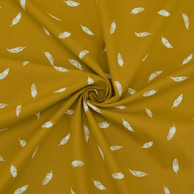 Poplin imprimat - Feather Ochre