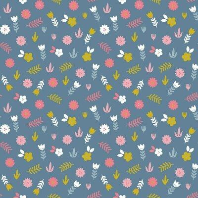 Poplin imprimat - Floral Blue Shadow