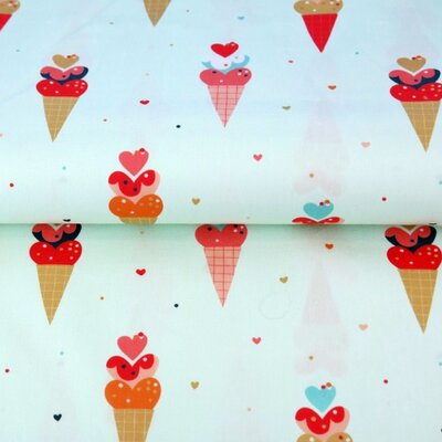 Poplin imprimat - Icecream Hearts Mint