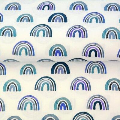 Poplin imprimat - Rainbow Nursery Blue
