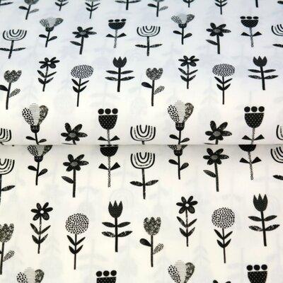Poplin imprimat - Scandic Flower White/Black