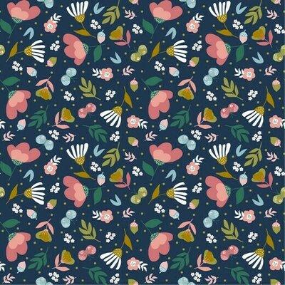 Poplin imprimat - Spring Garden Navy