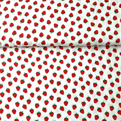 Poplin imprimat - Strawberry White