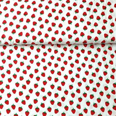 Poplin imprimat - Strawberry White