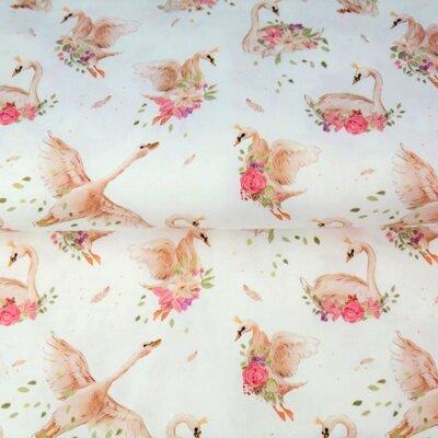 Poplin Imprimat - Swans White
