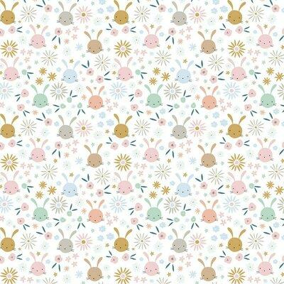 Poplin imprimat - Sweet Bunny White