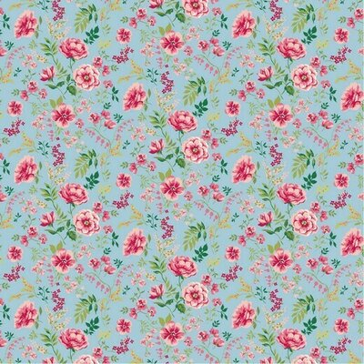 Poplin imprimat - Sweet Flower Light Blue
