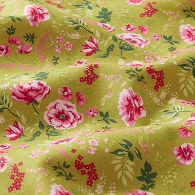 Poplin imprimat - Sweet Flower Lime