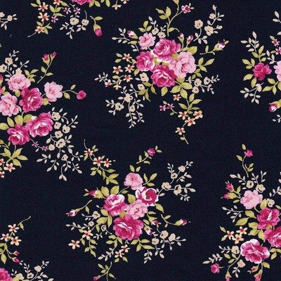 Poplin Rose Bunch Navy