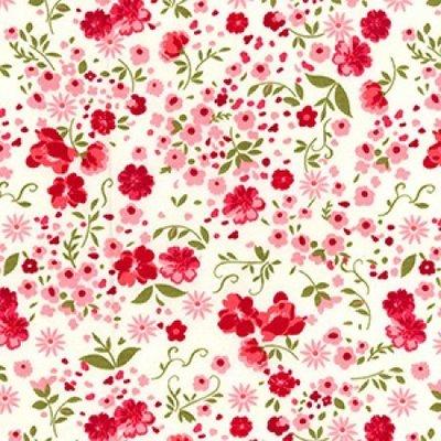 Poplin imprimat - Spring Flowers Ivory
