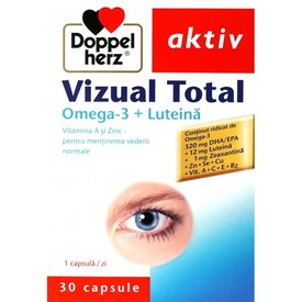 Doppelherz Aktiv Vizual Total Omega-3 + Luteină,  30 capsule