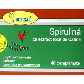 Spirulină cu extract total de cătină, 40 comprimate