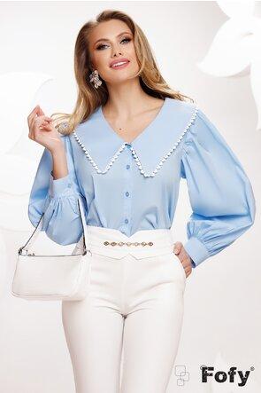 Bluza dama bleu cu guler retro conturat cu dantela brodata