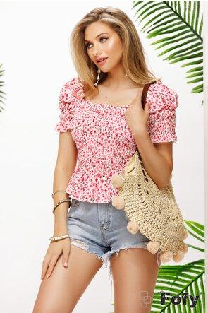Bluza dama cu bustul pe elastice cu floricele ciclame