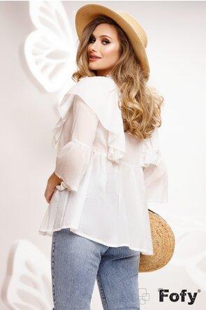 Bluza dama diafana stil ie cu broderie premium si ciucuri